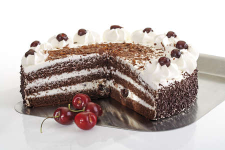 interiour shots: Black Forest Cake and fresh cherries
