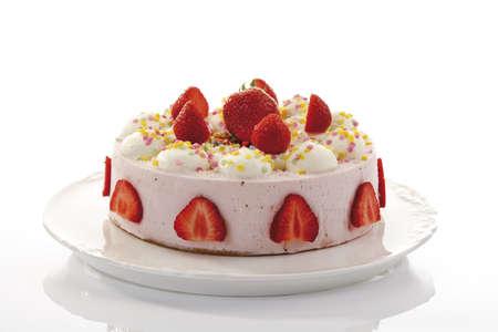 interiour shots: Strawberry-cream cake, close-up