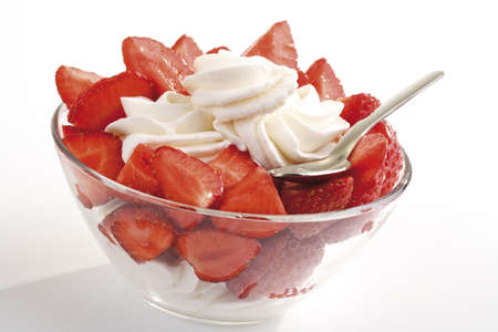 interiour shots: Strawberries with whipped cream