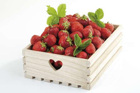 나무 상자, 근접 촬영에 딸기