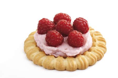 interiour shots: Raspberry tartlet, close-up