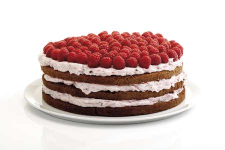 interiour shots: Raspberry cream cake, close-up