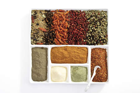 interiour shots: Variety of spices on plate, elevated view