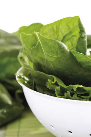 interiour: Fresh spinach leaves in bowl, close-up LANG_EVOIMAGES