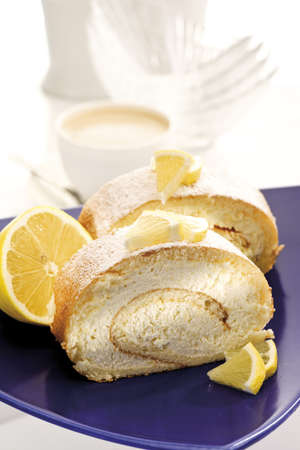 interiour shots: Swiss roll filled with lemon cream