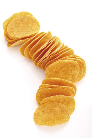 conformance: Potato chips in a row, elevated view