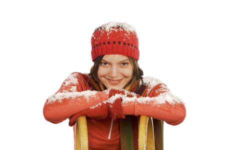 mirthful: Woman with sleigh, portrait