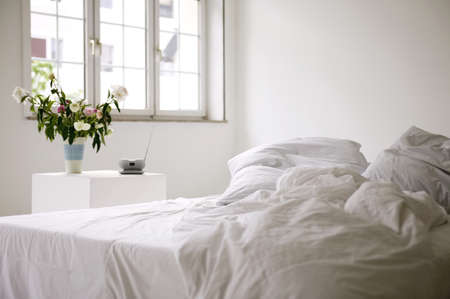 disorderly: Bedroom with vase of flowers