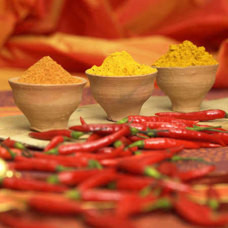 exotism: Curry, curcuma and chilli powder with red chillies, close-up