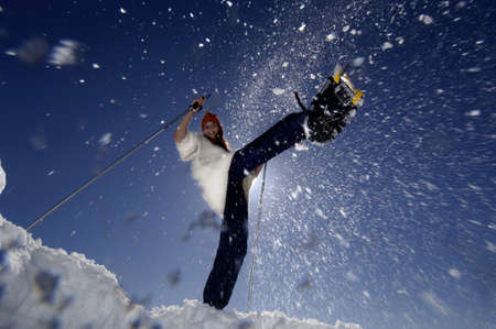 diverted: Woman with snow shoes, jumping