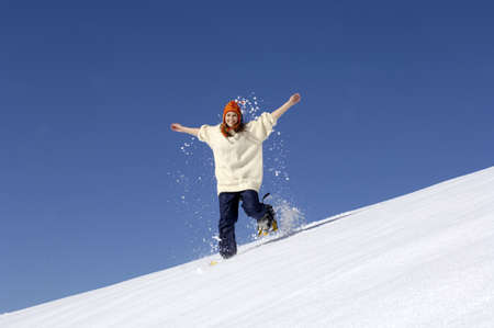 diverted: Woman running through snow