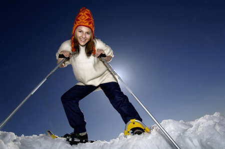wintersport: Woman practising wintersport, portrait