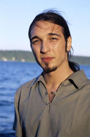 unworried: Young man, portrait, looking into camera