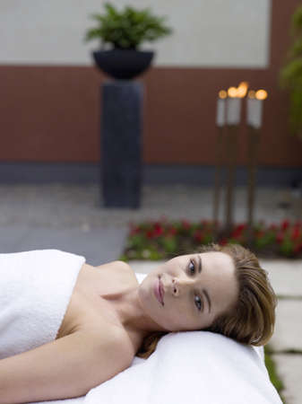 mirthful: Woman relaxing in spa LANG_EVOIMAGES