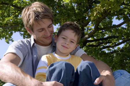 embracement: Father and son, portrait