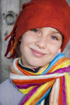 gentle dream vacation: Girl wearing red cap, portrait