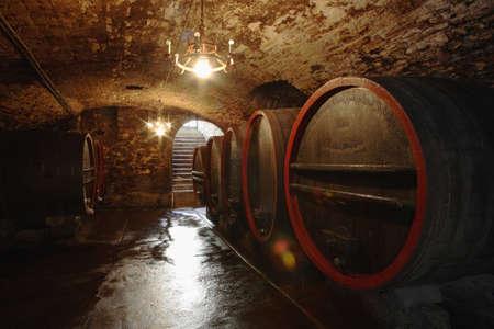 casks: Wine casks in cellar