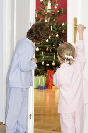 Girl and boy (3-7) standing by door watching Christmas tree, rear view Stock Photo - 23708109