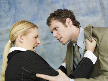 grudging: Businessman and businesswoman quarrelling LANG_EVOIMAGES