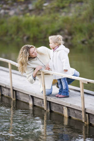 3 4 length: Mother with daughter on jetty
