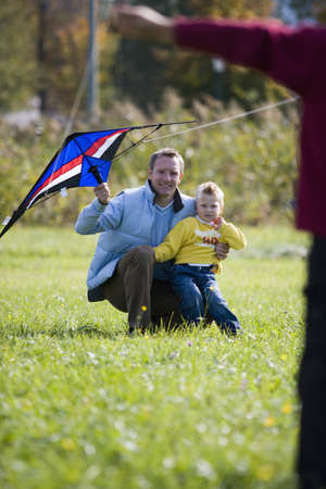 kind hearted: Father and son flying kite