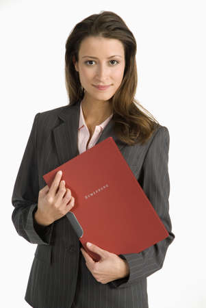 entrants: Young woman holding application file