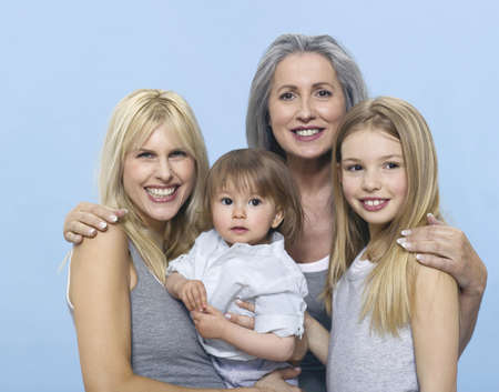 accrued: Senior woman with daughter and grand children, portrait