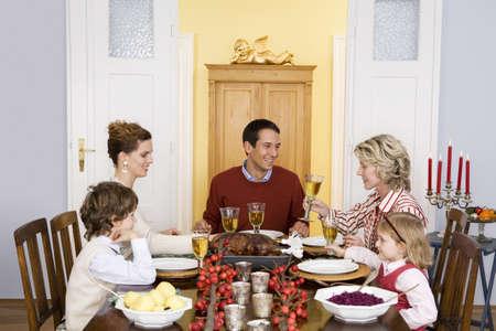 banquet facilities: Family having Christmas dinner