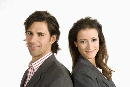 mirthful: Two businesspeople standing back to back