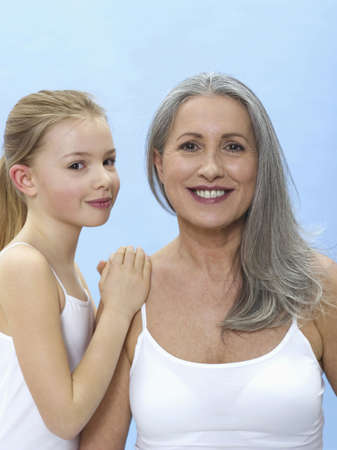 65 70 years: Grandmother and granddaughter, portrait