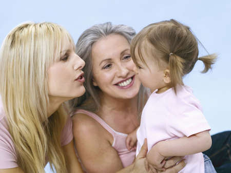 coherence: Grandmother, mother and daughter wearing spectacles, portrait