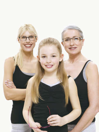 Grandmother, mother and daughter wearing spectacles, portrait Stock Photo - 23891092