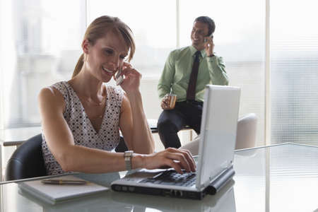 competent: Business, teamwork, phoning and using a laptop