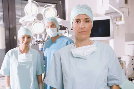 bonnet up: Surgery team in operating room