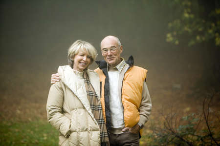 50 to 55 years old: Germany, Baden-Württemberg, Swabian mountains, Senior couple embracing, portrait