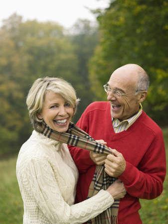 65 70 years: Germany, Baden-Württemberg, Swabian mountains, Senior couple having fun, portrait