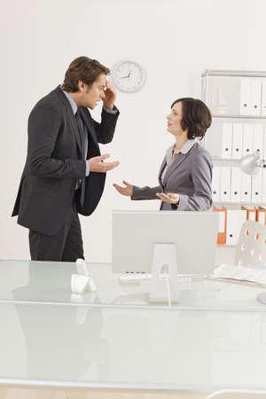 interiour shots: Business couple at laptop, portrait LANG_EVOIMAGES