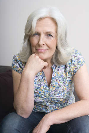 Senior woman, hand on chin, portrait Stock Photo - 23891465