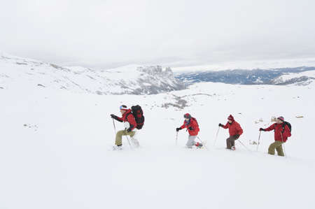 differential focus: Italy, South Tyrol, Four people in a row, snowshoeing