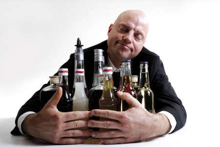 embracement: Man hugging alkohol bottles