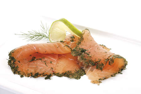 interiour: Salmon slices with dill, elevated view LANG_EVOIMAGES