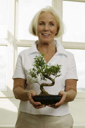 Senior woman holding potted bonsai tree, smiling, portrait Stock Photo - 24303105