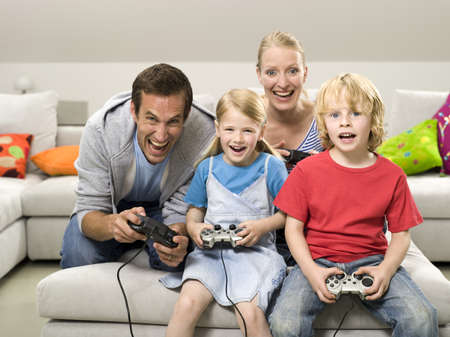 motivations: Family playing compouter game