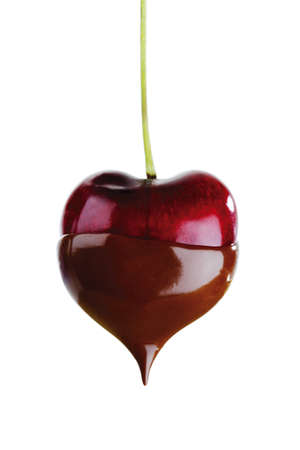 dipped: Heart cherry dipped in chocolate sauce