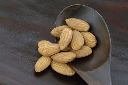 foodstill: Almonds, close-up, overhead view
