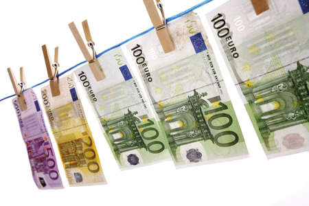 worl: Euro notes on clothesline