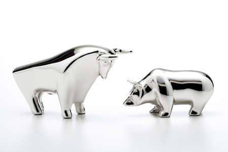 bull market: Bull and bear figurines, close-up