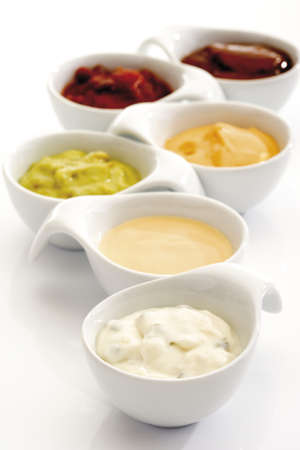 Dips in bowls, close-up