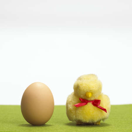 juxtaposing: Soft chick by egg