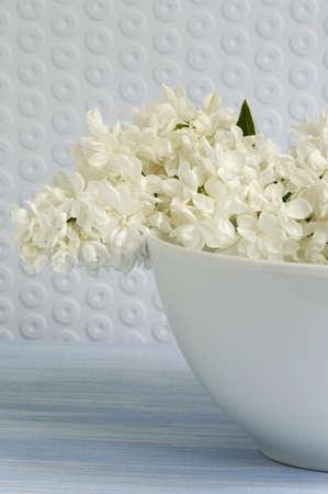 auras: White syringa in bowl, close-up LANG_EVOIMAGES